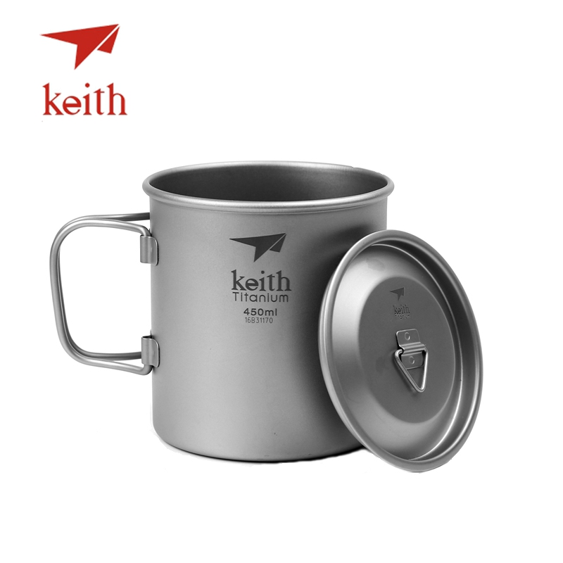 Keith Outdoor Titanium Water Cup Camping Hiking Utensils Travel Mug With Folding Handle Single Wall Ultralight Tableware cup