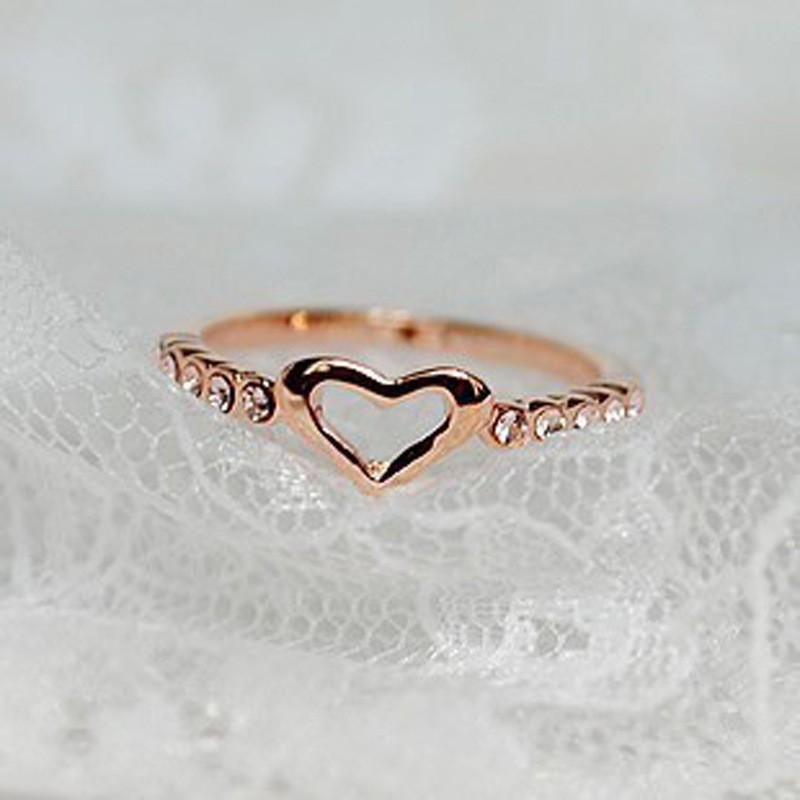 Awesome Small Hollow Heart Inlaid Crystal Alloy Rings for Girls ...