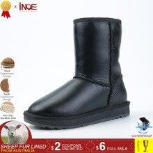 INOE Classic mid-calf real men sheepskin leather sheep wool fur lined winter snow boots for men winter shoes waterproof black