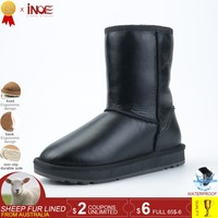 41dbc7e5c65fb INOE Classic Mid Calf Real Men Sheepskin Leather Sheep Fur Lined Winter  Snow Boots For Women