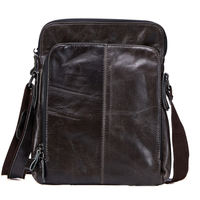 Real Cowhide Leather Men shoulder Bag For Man New vintage Style messenger bags Men's Mini Cross Body Shoulder Bags brown/black