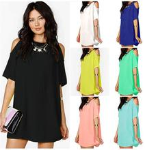 Womens Sexy Criss Cross Cut Out Cold Shoulder T-Shirt summer Dress Casual Solid Color criss cross faux suede open shoulder dress