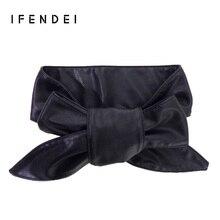IFENDEI 2017 Fashion Womens Belt Cummerbunds For Female Wide PU Leather Belt Long Soft Bowknot Designer Girdle For Dress Party