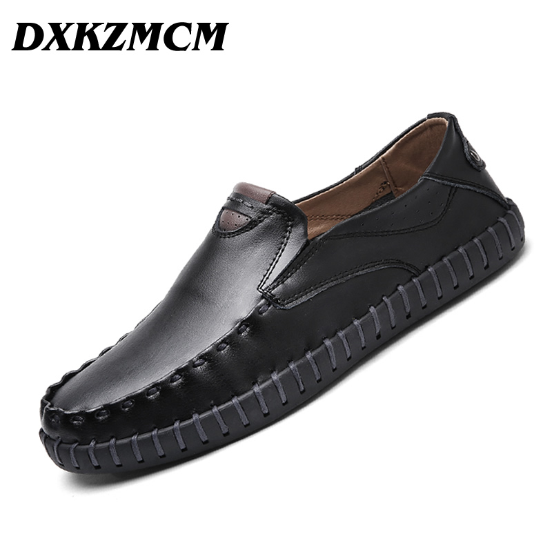 DXKZMCM Genuine Leather Men Casual Shoes Soft Moccasins Loafers Handmade Suture Men Driving Shoes genuine leather men casual shoes summer loafers breathable soft driving men s handmade chaussure homme net surface party loafers