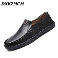 DXKZMCM Genuine Leather Men Casual Shoes Soft Moccasins Loafers Handmade Suture Men Driving Shoes