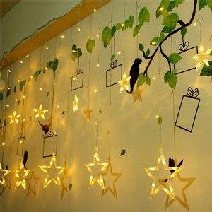 Image 2 - أضواء عيد الميلاد في الأماكن المغلقة 4.5 متر ستار الستار سلسلة ضوء 138 LED مصباح مع 8 وسائط وامض الديكور للمنزل الزفاف