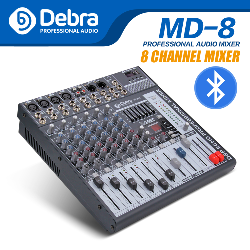 Debra Audio MD 8 8 Channel Audio Mixer dj controller Sound Board with 24 DSP Effect USB Bluetooth XLR Jack Aux Input|DJ Equipment| |  - title=