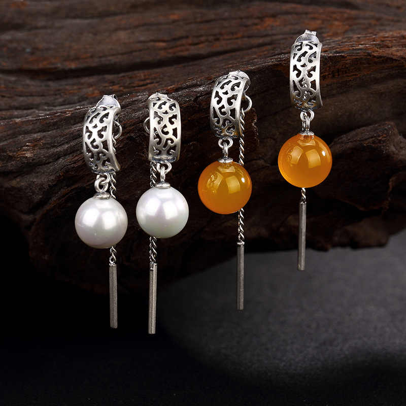 イヤリングファッションジュエリー復元古代の方法は、パターンで真珠パルプタッセルMSライン卸売高品位耳飾り耳
