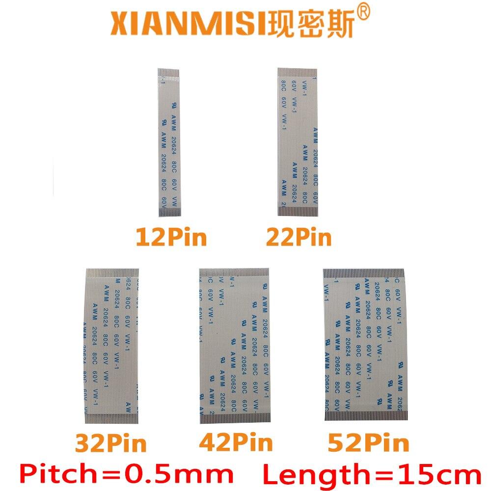FFC/FPC Flat Flex Ribbon Cable 12Pin 22Pin 32Pin 42Pin 52Pin Same Side 0.5mm Pitch AWM VW-1 20798 80C 60V Length 15cm 5PCS