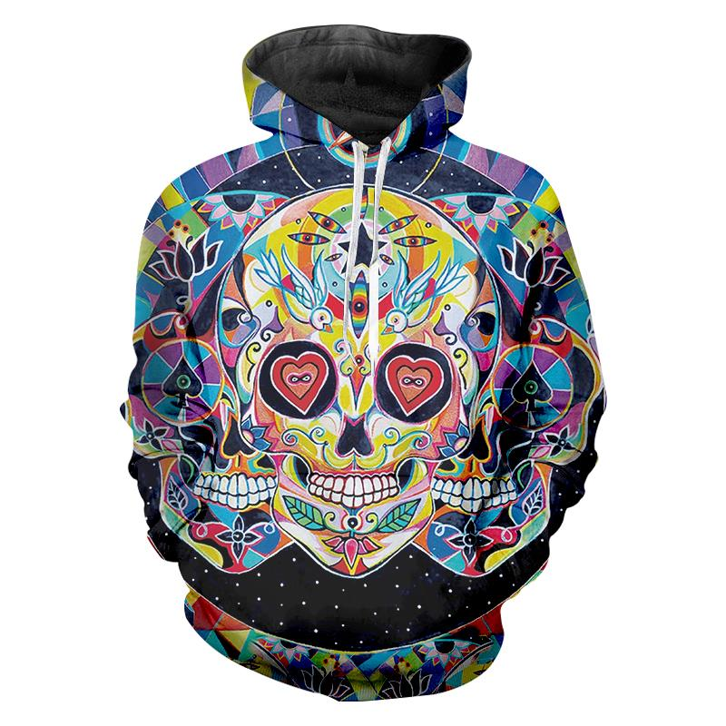 Jerwill Face Graph Hoodies New Arrivals Men Fashion 3D Print Skull Sweatshirt Casual Long Sleeve Hip Hop Pullovers Sweats Unisex