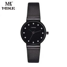 Super Slim Tira de Malha de Aço Inoxidável Relógios Senhoras Relógio de Pulso Das Mulheres Top Marca de Luxo Relógio Ocasional Relogio feminino cryst