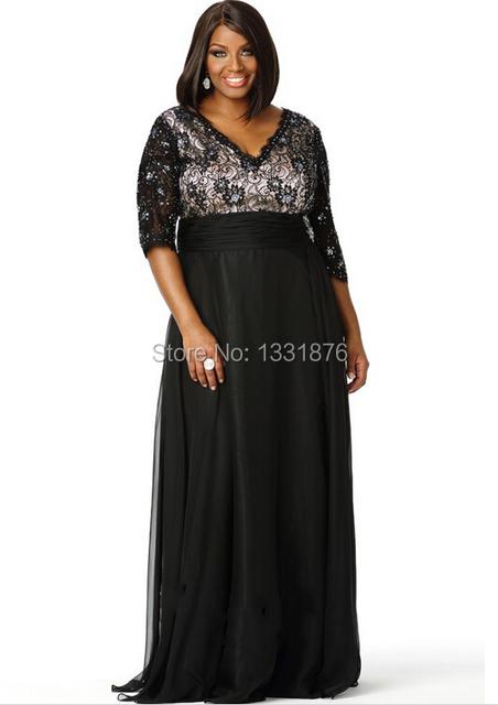 Plus Size Mãe Dos Vestidos de Noiva 2016 Do Laço Do Vintage Beade A Linha Puffy Roupas De Casamento Preto Vestidos de Noite Preto os hóspedes