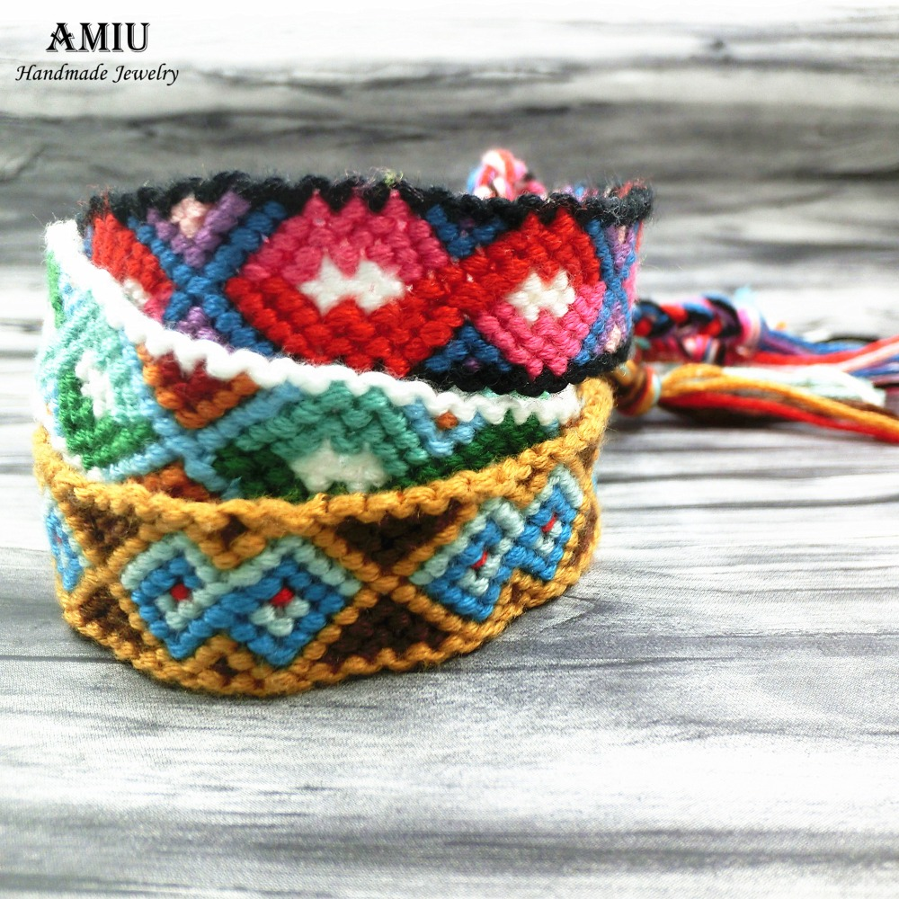 AMIU Dropshipping Bohemia Style Weave Custom Cotton Friendship Bracelet Woven Rope String Bracelet For Women Men CBHX14G 2020