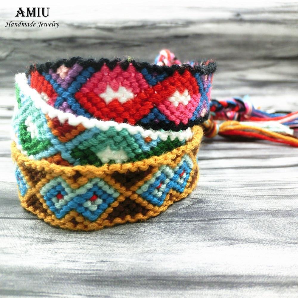 AMIU Dropshipping Bohemia Style Weave Custom Cotton Friendship Bracelet Woven Rope String Bracelet For Women Men CBHX14G 2020