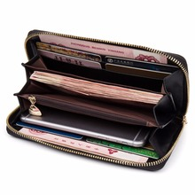 купить BOSTANTEN Cow Genuine Leather Women Wallet Wristlet Long Zipper Female Purse Luxury Brand Coin Purse Clutch Designer Money Bag по цене 1276.57 рублей