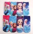12 pares/lote Elsa socks / Snow Queen Anna Elsa crianças dos desenhos animados meias 2 * 15Y / princesa das meninas tênis meias / infantis sockings