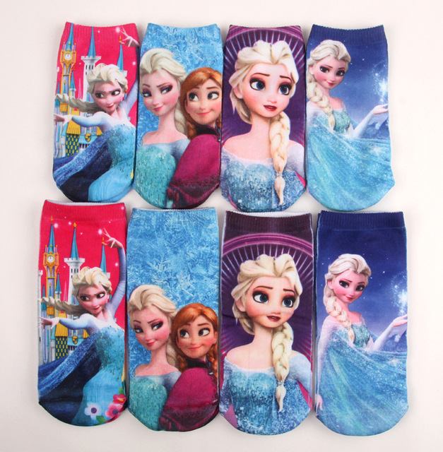12pairs/lot elsa socks/Snow Queen Anna Elsa Children cartoon ankle socks 2*15Y/girls princess sneaker socks /kids sockings