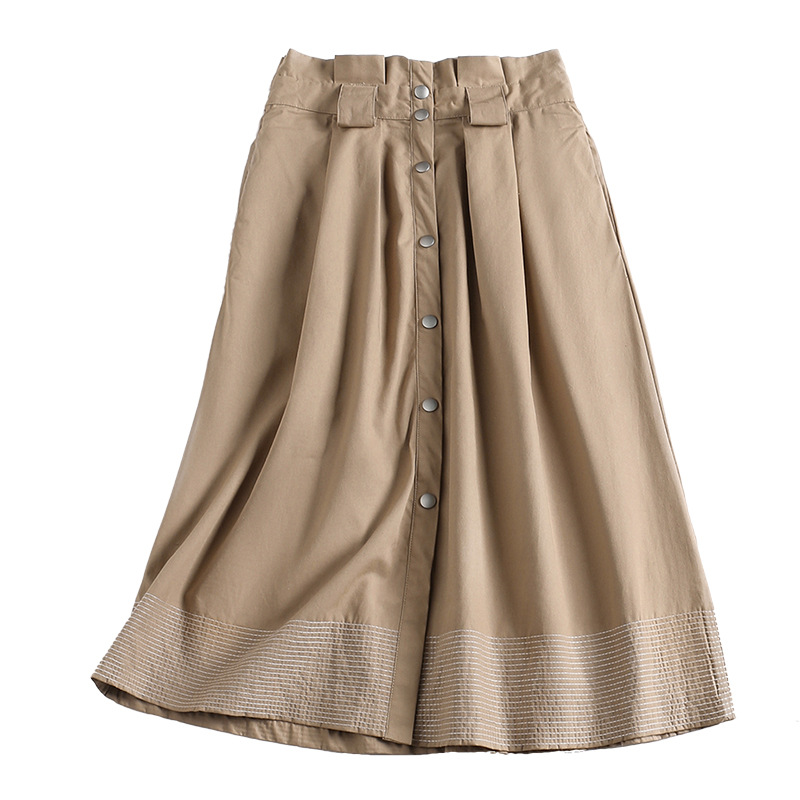 Solid high waist a line skirts 2019 new women spring knee length skirts in Skirts from Women 39 s Clothing