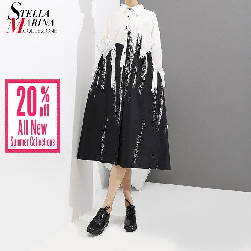 2019 Frauen Sommer Malerei Stil Lose Weißes Hemd Kleid Lange Sleeve Print Weiblich Plus Größe Party Club Midi Casual Kleider 3400 QualitäT Zuerst