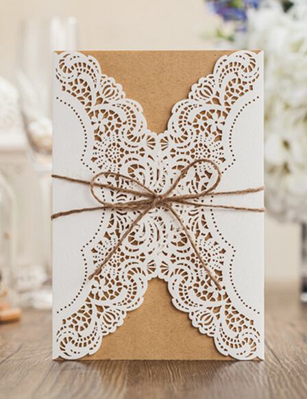 Vintage Wedding Invitation card with envelope laser cut birthday