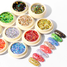 6pcs/set Nail Glitter Super Sparkly Sequins Laser Chrome Powder Body Art Pigment Kit Manicure Decoration