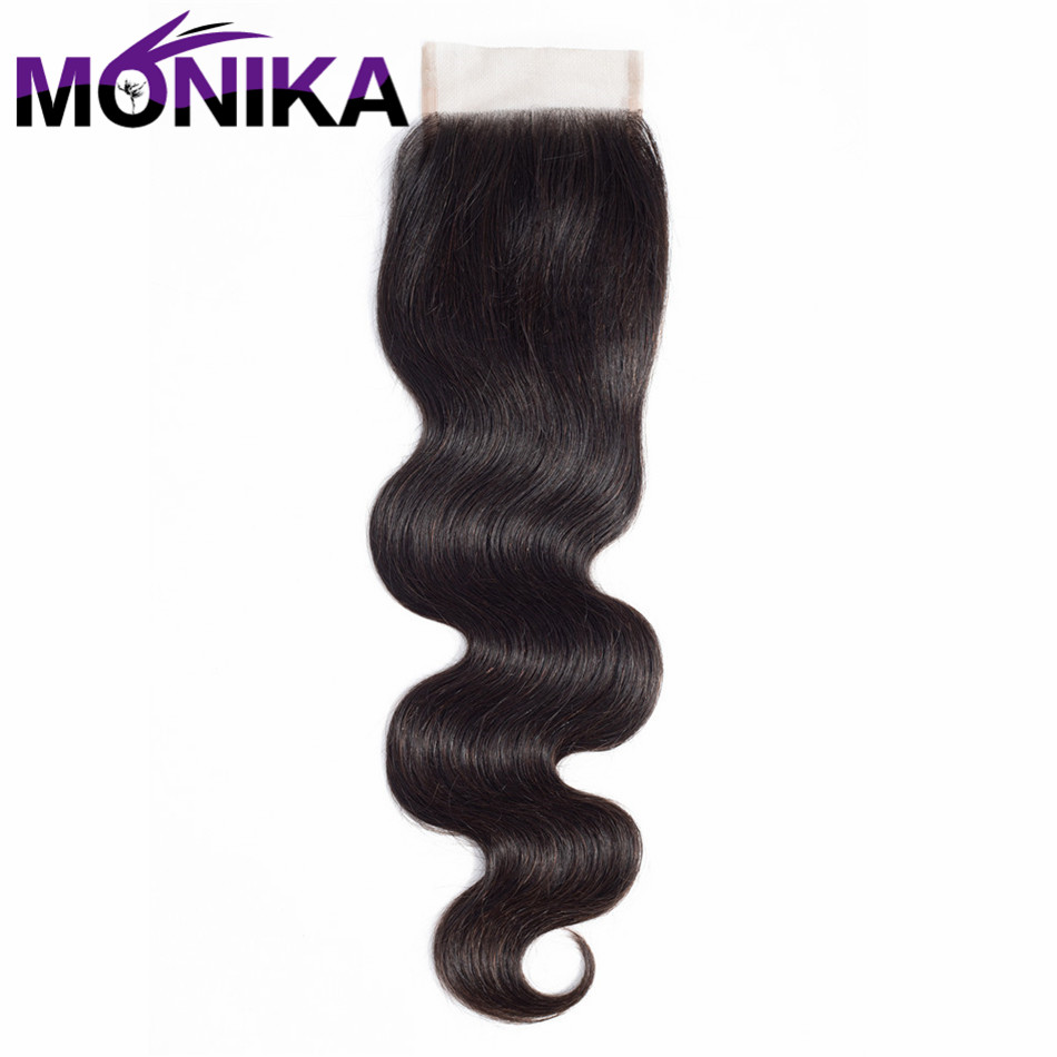 Monika Peruvian Body Wave Lace Closure With Baby Hair Non Remy Hair Natural Color 8-20 Swiss Lace Human Hair Closure