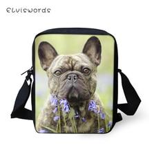 ELVISWORDS Kawaii Women Messenger Bags Little Bulldogs Pattern Shoulder Cute Animal Girls Flaps Handbags Kids Mini Mochila