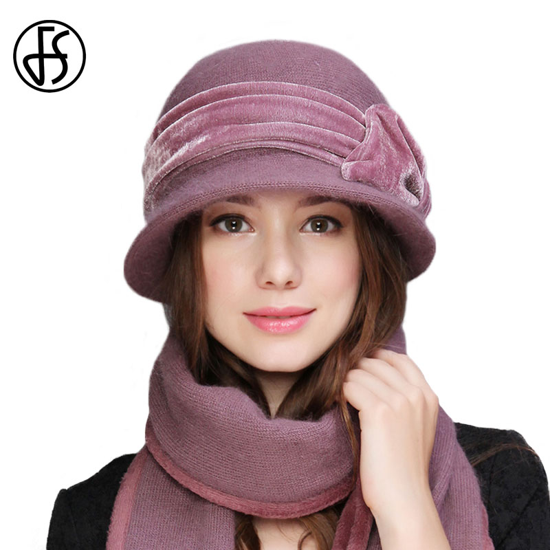 FS Women Wool Rabbit Fur Knitted Fedora Hat Fashion Vintage Wide Brim Female Winter Hats Neck Warmer Cap With Scarf-in Women's Fedoras from Apparel Accessories