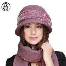 FS damskie wełniane futra królika dzianiny kapelusz fedora moda Vintage szerokie rondo kobiece czapki zimowe szyi cieplej czapka z szalikiem
