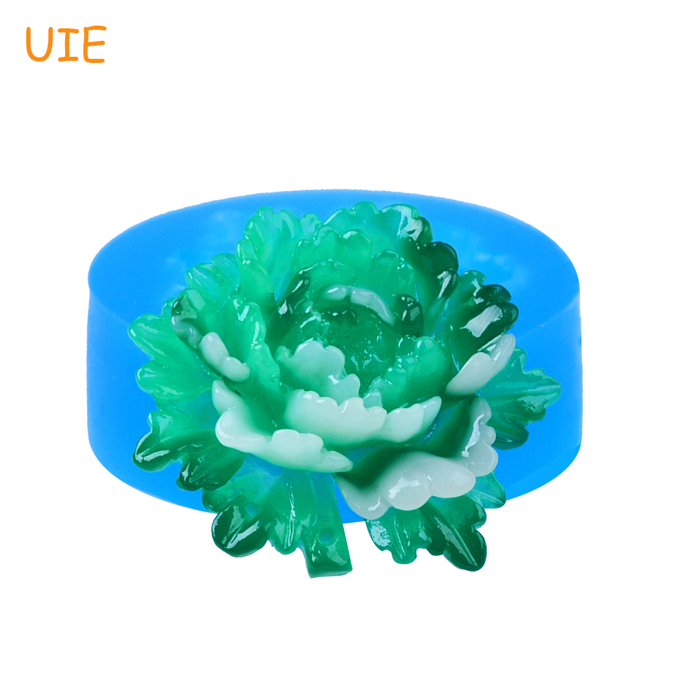 HYL301U 32.2mm Peony Flower Pendant Silicone Mold - for Cake Topper Fondant, Scrapbooking, Icing, Resin Jewelry, Candy Oven Safe