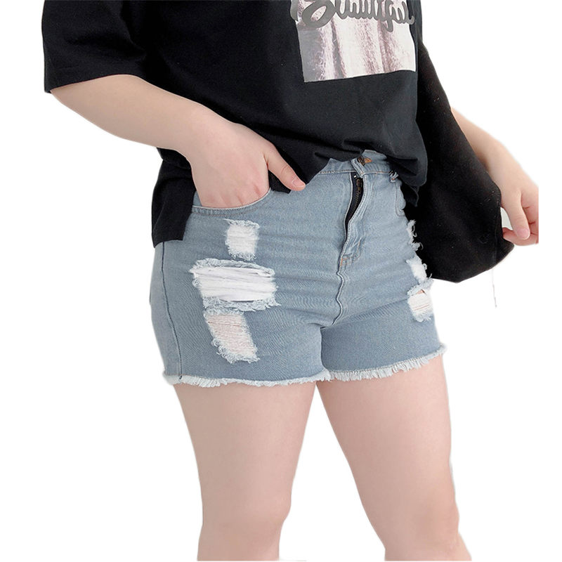 5XL Elastic High Waist Shorts Hole Large Size Denim Shorts Women Jeans Shorts Summer 200 Pounds Casual A Line Skinny Jeans f468