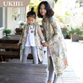 2016 New Family fitted clothing Paternity Coat mother and Daughter Girl Kids Outerwear Vintage Printing Coat family look clothes
