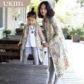 2016 nova família equipado paternidade clothing casaco mãe e filha menina crianças casaco de impressão outerwear do vintage roupas olhar família