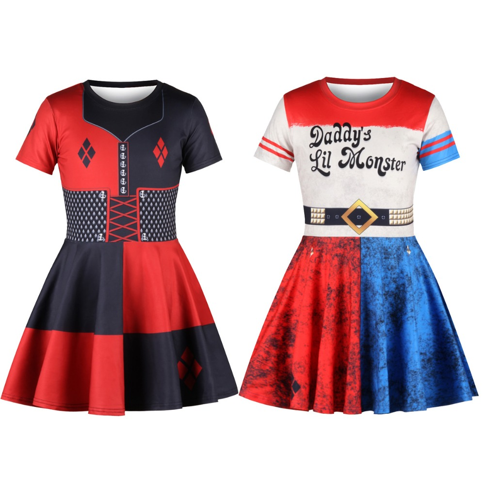 Cosplay Suicide Squad Harley Quinn Dress Clown Girl Sorcerer Tutu / Headdress Uniform Child halloween costume for kids Dresses