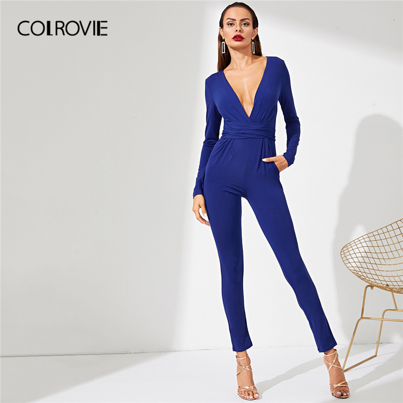 COLROVIE Blue Solid V-Neck High Waist Office Lady Party Long Rompers Womens   Jumpsuit   Winter Long Sleeve Feminino Sexy   Jumpsuits