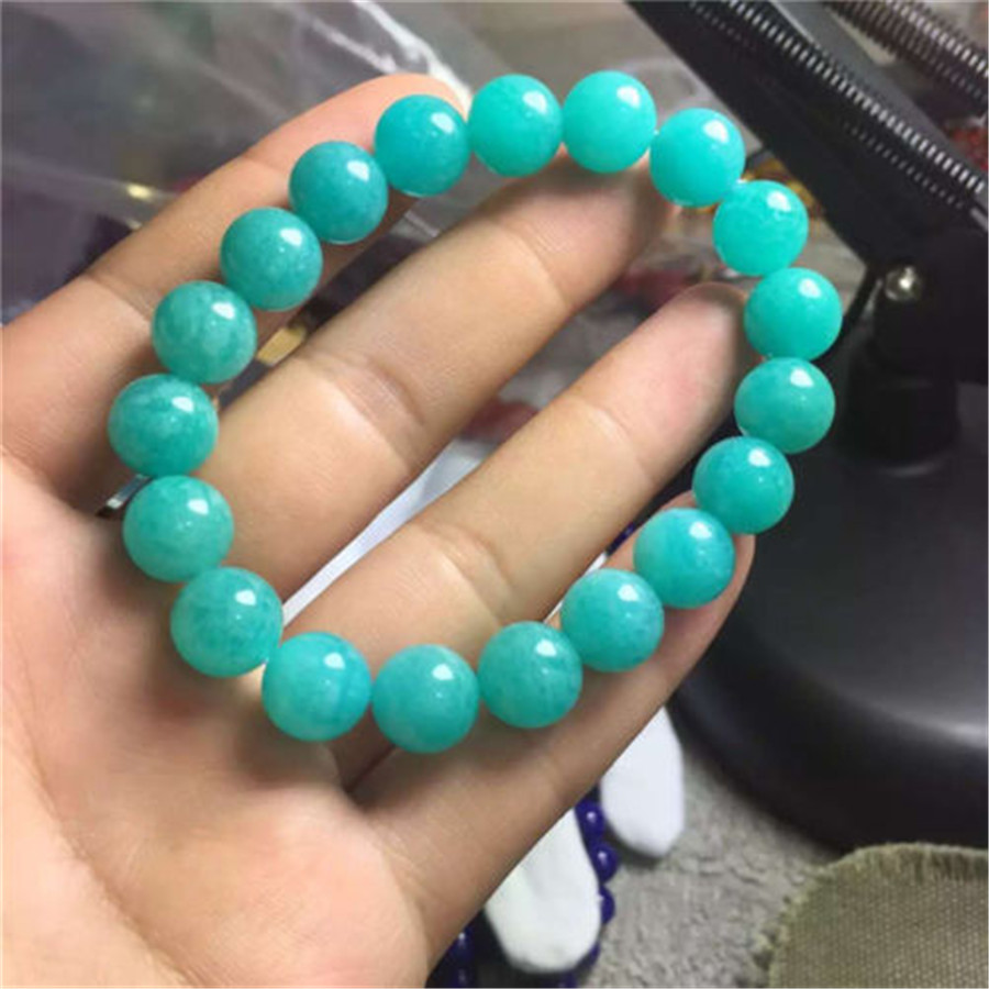10mm Genuine Green Natural Amazonite Bracelets For Women Crystal Stretch Round Bead Charm Bracelet Jewelry Accessories Gift