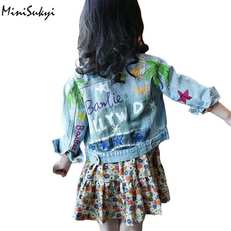 girls denim jackets Cartoon Graffiti Printed Ripped jeans coats spring autumn teenage jackets coats kids cardigan children 3-12Y