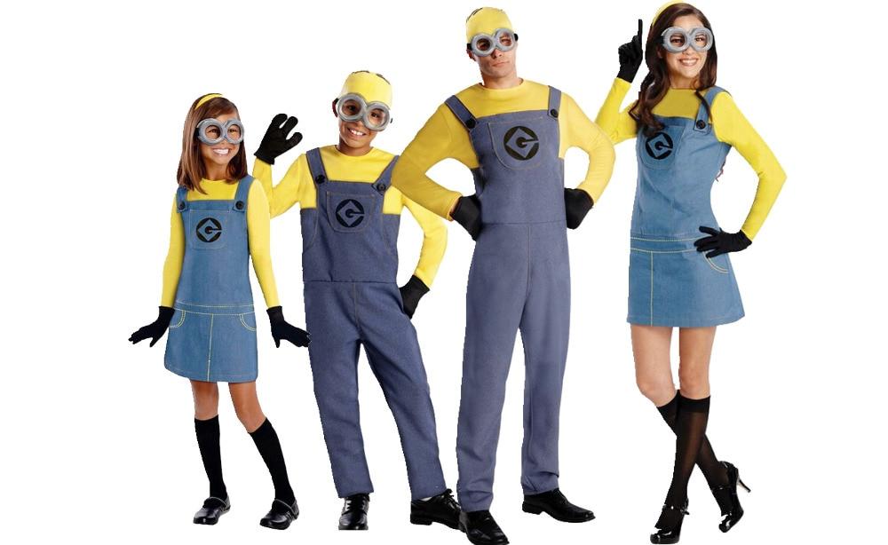 2016 Barn Minion Kostym Halloween Anime Mini Despicable Me Cosplay Kostymer Passar Pojkar / Flickor Barn Festkläder S-L