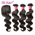 Ali Julia Official Store Brazilian Body Wave Hair Bundles With Lace Closure 3 Bundles with Free/Middle/Three Part closure