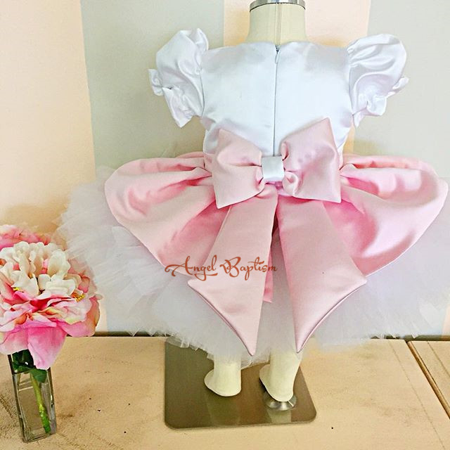 White/Ivory Flower Girl Dresses for wedding 1 year Ball Gowns first communion dresses for girls pageant dresses with pink bowWhite/Ivory Flower Girl Dresses for wedding 1 year Ball Gowns first communion dresses for girls pageant dresses with pink bow