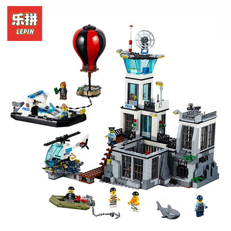 Lepin 02006 815Pcs Genuine City Series The Prison Island LegoINGlys 60130 Building Blocks Bricks Educational Toys For boys Gifts lepin 02006 815pcs city series police sea prison island model building blocks bricks toys for children gift 60130