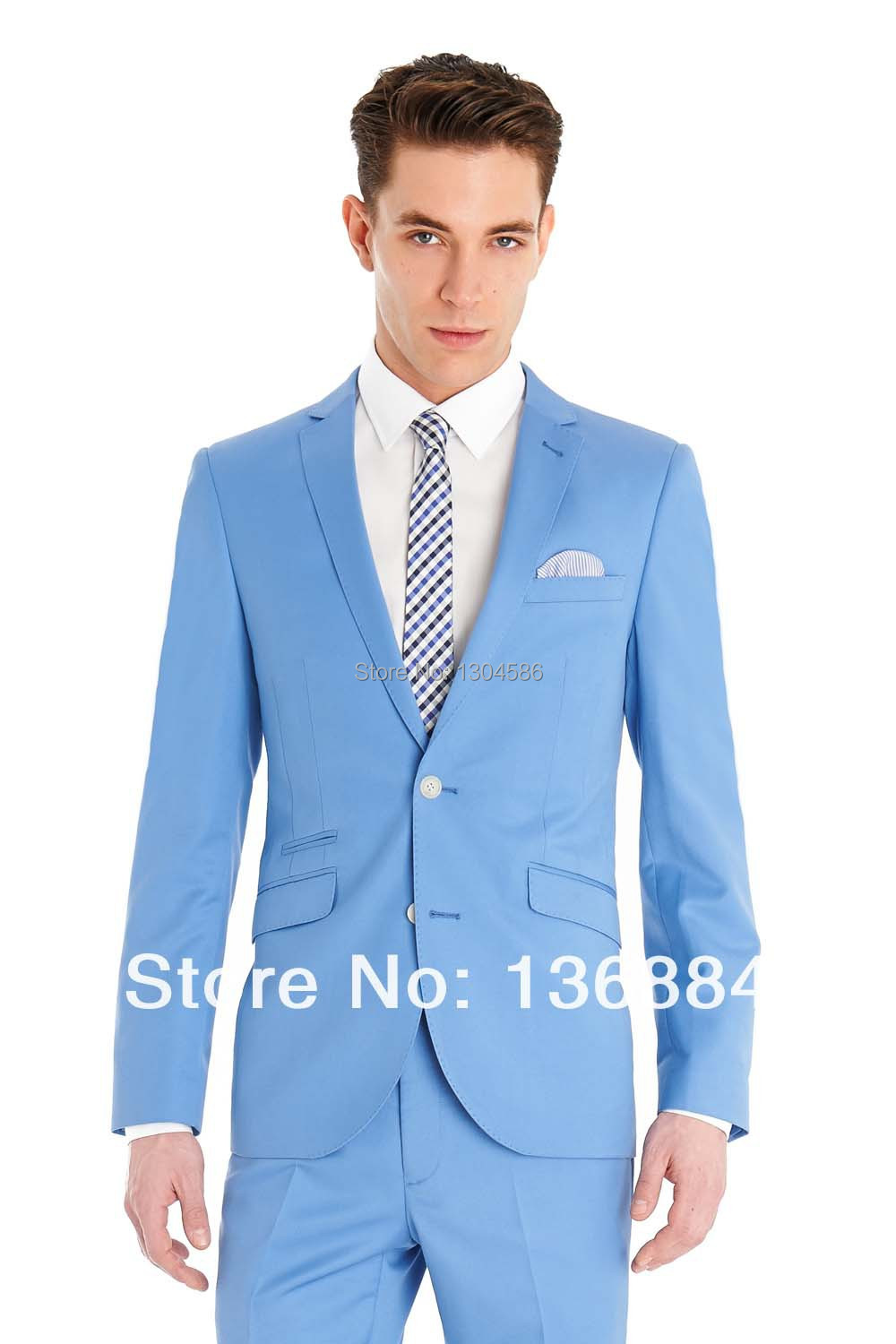 Online Shop new arrive custom made men's suits sky blue,light blue ...
