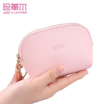 JANE'S LEATHER Women Coin Purse Fashion Tassel Keychain Small Change Wallet High Capacity Clutch Cards Bills Cash Key Bags 2019