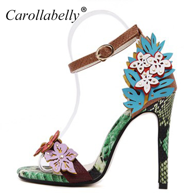 5f0f1f5cb 2018 hot sell colorful flower high heels new design open toe women sandals  sexy ladies ankle strap women pumps