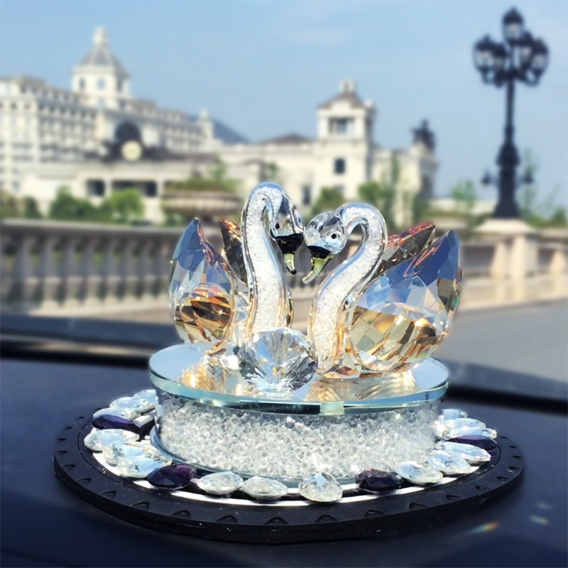 Clear Champagne Couple Glass Crystal Swan with Clear Diamond Home Decoration Wedding Gift Valentine s Day
