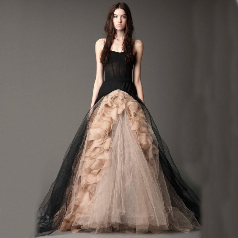 Wedding Gowns For 2015: A Line Strapless Victorian Gothic Wedding Dress Ruffled
