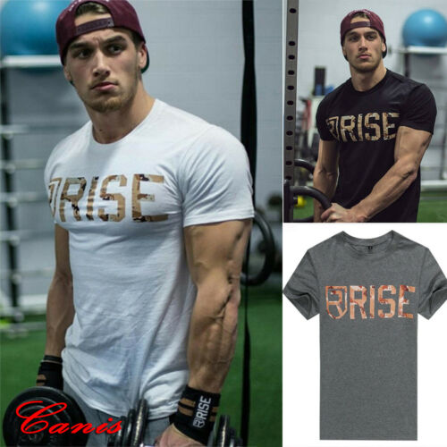 Men/'s Gym Summer Slim Fit Casual Short Sleeve Muscle Tee Tops T-shirt Blouse