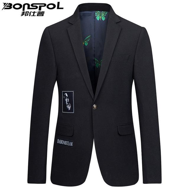 Marcas BONSPOL terno ocasional dos homens casaco fino Coreano único Oeste maré juventude pequeno terno de Moda de Nova Marca Homens Blazer Casamento terno