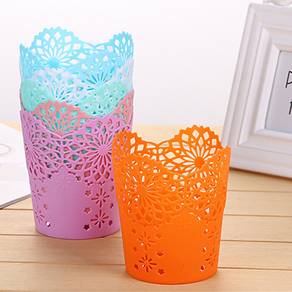 Image 1 - Openwork Pattern Pen Holder Creative Storage Bucket Small  Can Storage Basket-in Storage Baskets from Home & Garden