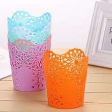 Soporte de bolígrafo calado creativo Cubo de almacenamiento pequeña cesta de almacenamiento